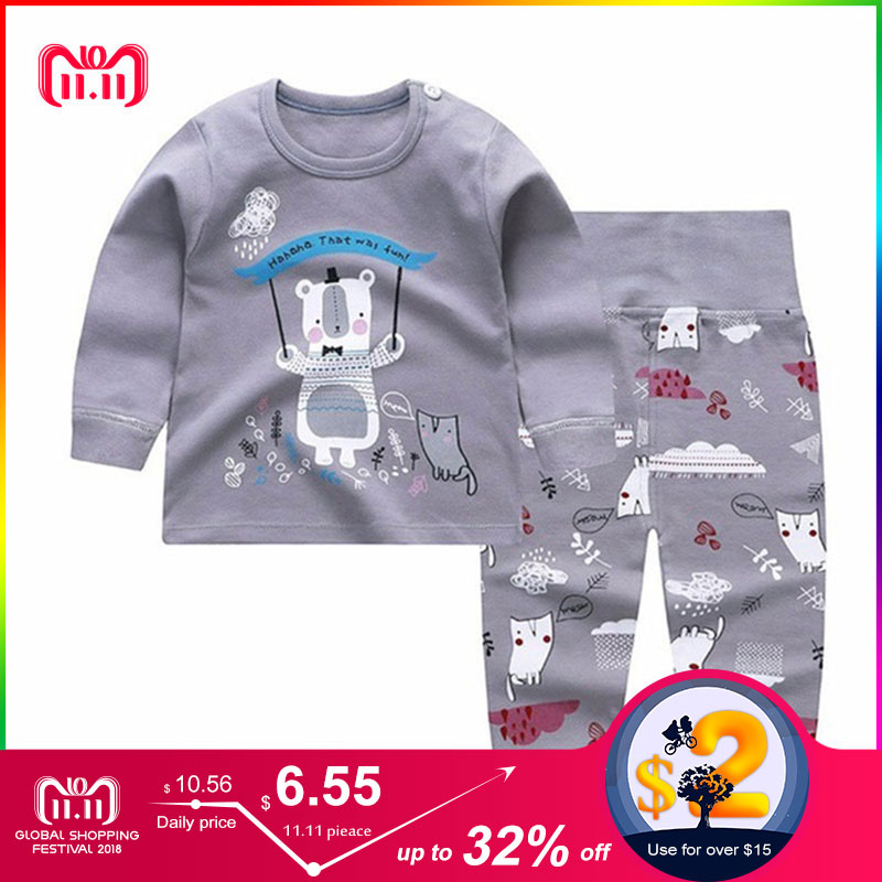 Winter Boys Clothes Cartoon Print Children's Clothing Set 95%Cotton Warm Baby Girls Clothes Boys Winter Clothes For Kids