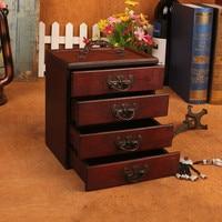 Retro Ming & Qing Dynasty Style 4 Drawers Make up Storage Organizer Antique Wooden Jewelry Storage Box XI2251443