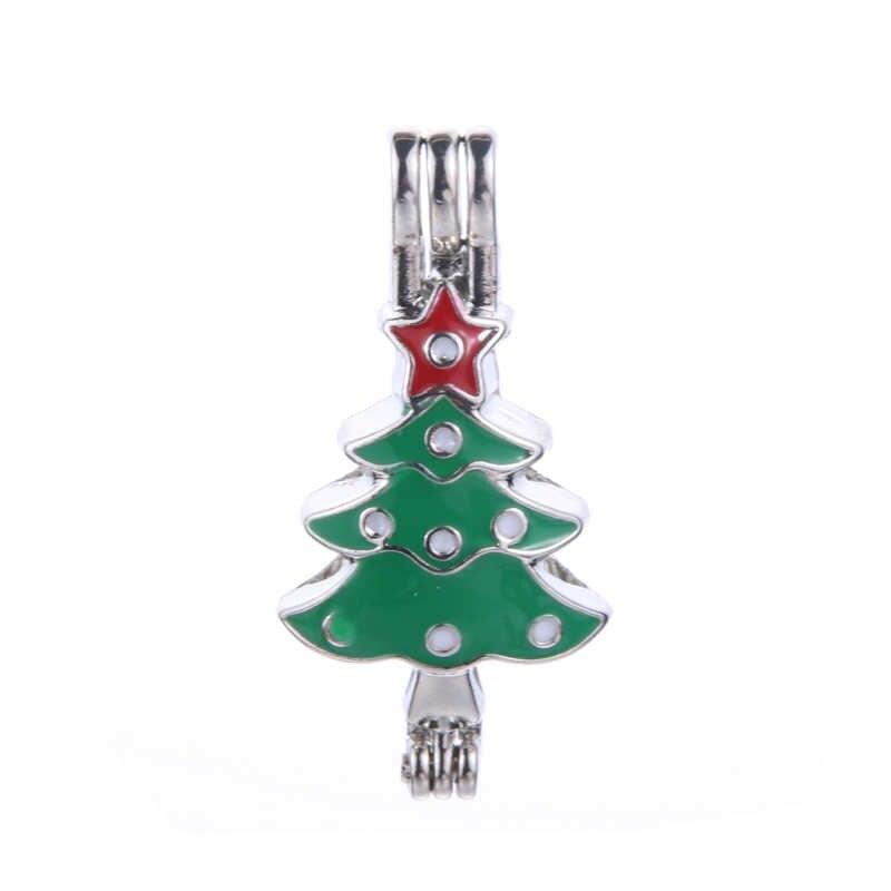 6pcs สีเคลือบ Christmas tree Pearl ลูกปัด Cage Essential Oil Diffuser Locket จี้เครื่องประดับ DIY ทำ Oyster