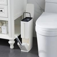 Narrow Bathroom Trash Bin Waste Bin Toilet Trash Can Toilet Brush Garbage bag Set Trash Bucket Plastic Dustbin