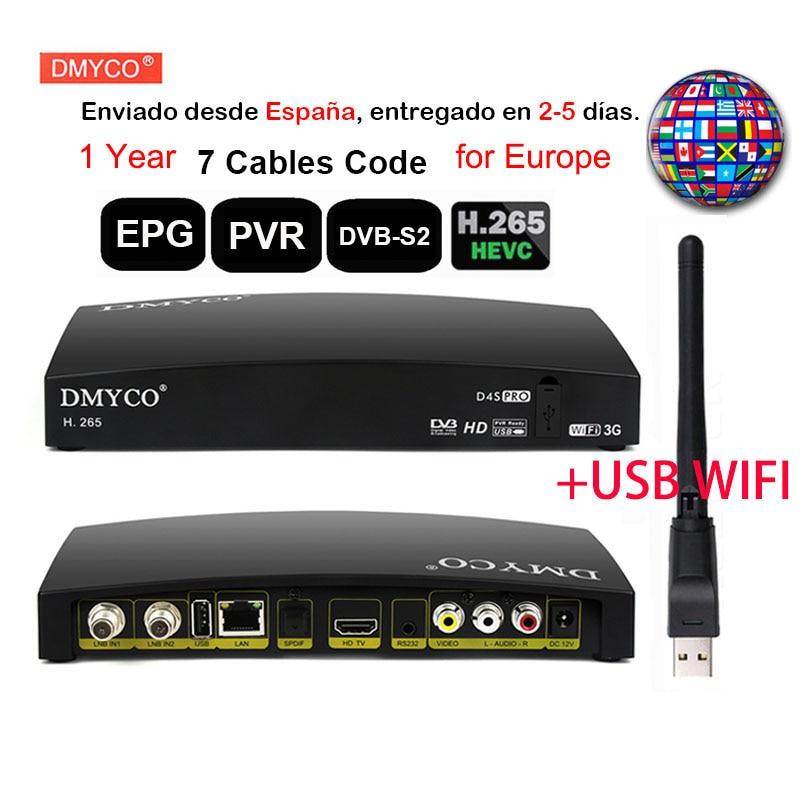 1 an Europe 7 câbles pour l'espagne D4S PRO FTA décodeur tv satellite dvb s2 HD 1080P lnb récepteur + USB WIFI prise en charge H.265 MPEG-5 ACM