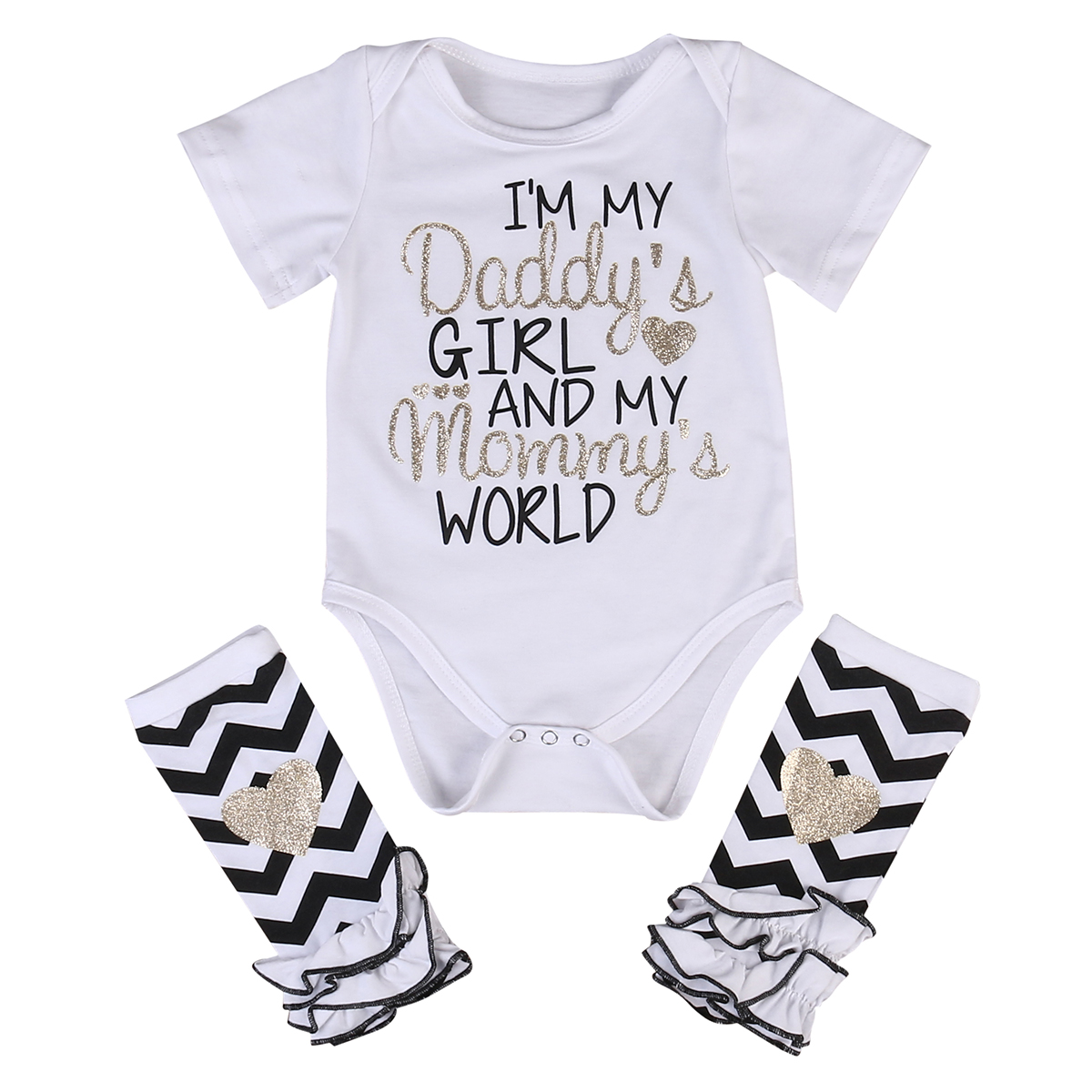 07643a653d68 Newborn Infant Baby Girls Outfits I m daddy girl Romper+ Striped Warm  Leggings Jumpsuit Clothes