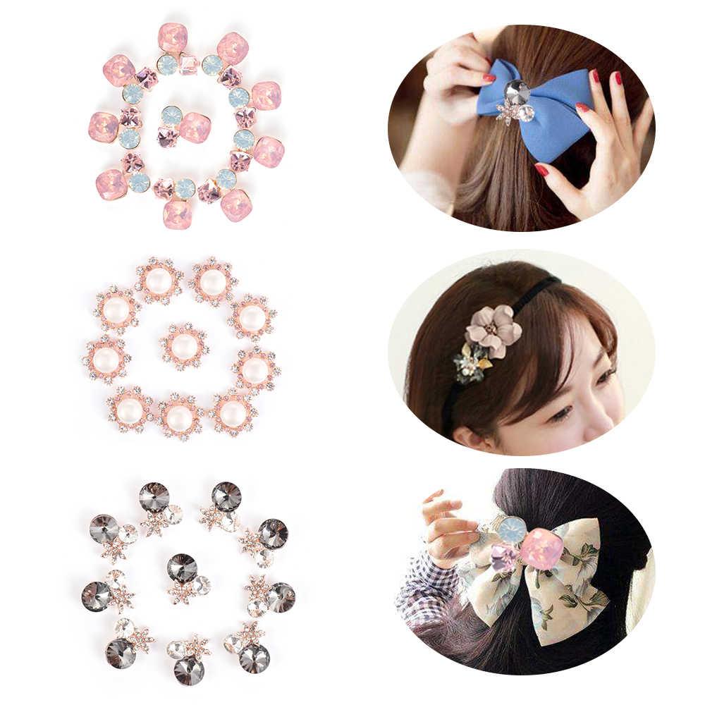 10 adet/takım DIY çiçek Rhinestones düğmeler inci düğmesi alaşım Diamante kristal yay düğün dekorasyon dikiş dekor aksesuarları