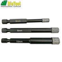 DIATOOL 3PK (6 MM + 8 MM + 10 MM) Vaccum Gesoldeerde Diamond boren bits voor steen, porselein/tegel, Metselwerk Droog boren, quick fit Schacht
