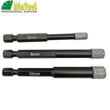 Diatool 3pk (6mm + 8mm + 10mm) vácuo soldadas diamante bocados de perfuração para pedra porcelana/telha alvenaria perfuração seca haste de ajuste rápido