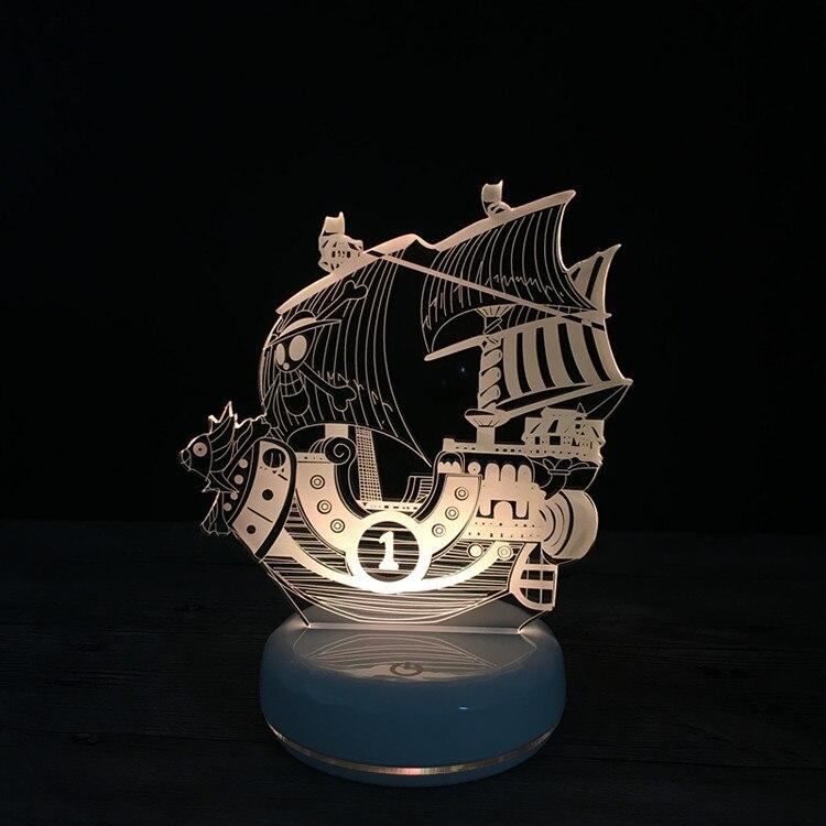 D'une seule Pièce Navire Ensoleillé THOUSAND SUNNY Éclairage JOUETS Icône Illusion Visuelle LED 3D Lumière Veilleuse Action Figure