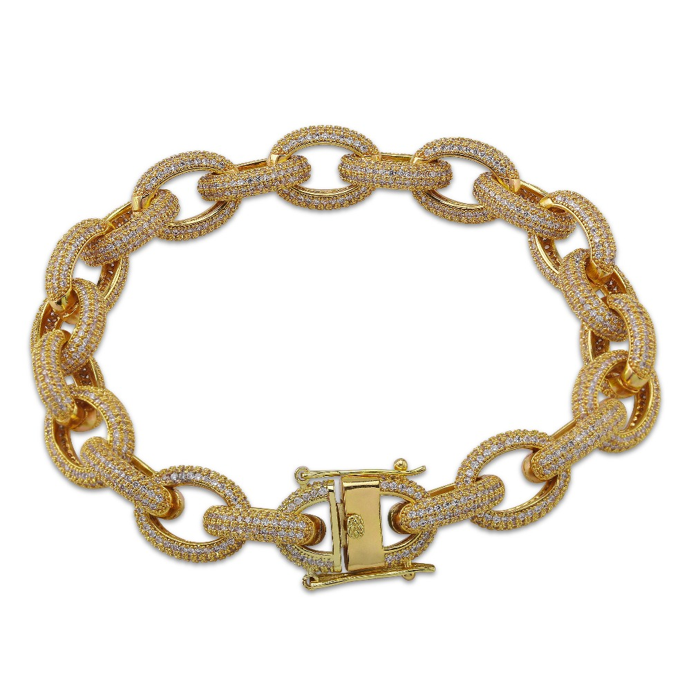 12mm Mens Charm Link Bracelet Personalized Bling Iced Out Cubic Zirconia Hip Hop Gold Silver Rose