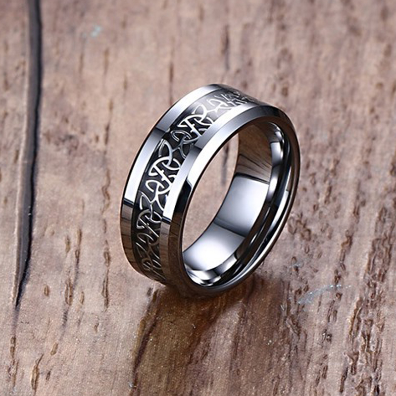 Mprainbow Hochzeit Ringe Carbon Fiber Intarsien Celtics Knoten Engagement Band Ring Für Sie und Ihn Geschenk Liebhaber Schmuck 6MM /8MM