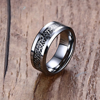 His And Her Wedding Engagement Band 8mm 6mm Black Etched Polished Solid Tungsten Rings Infinity