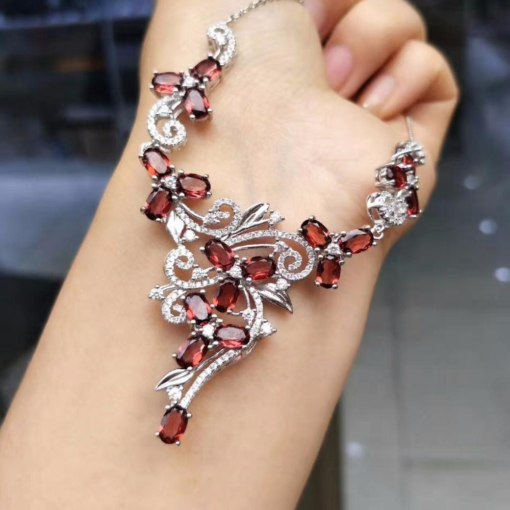 Atmosphère luxueuse, Grenat Naturel Collier, rouge pierres précieuses, 925 argent, la dernière conception conduit le monde bijoux tendance.