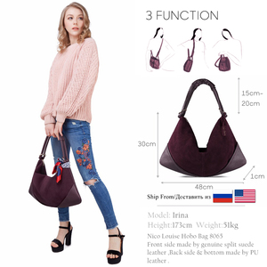 Image 2 - Women Handbags Real Suede Leather Shoulder Bag Ladies Fashion Hobo Bags Casual Leisure Shopping Sac A Main Femme Bolsos Mujer