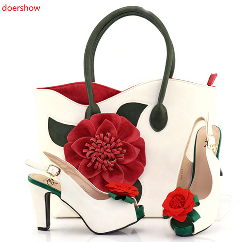 doershow latest style African Women Matching Italian Design Shoe and Bag Set for Wedding Italian Shoes with Matching Bags PAB1-4 doershow latest african shoes and bag set for party italian fashion women sandal with matching bags set with rhinestones hjn1 12