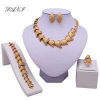 Nova Moda da Cor do Ouro de Casamento Beads Africanos Conjuntos de Jóias de Ouro Dubai Conjuntos de Jóias de Cor Traje Romântico Projeto Longo
