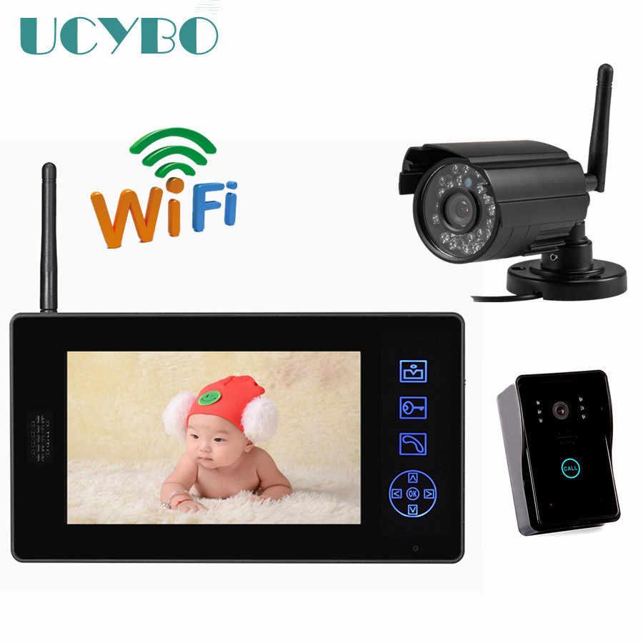 """7 """"lcd هاتف فيديو لاسلكي للباب الداخلي كاميرا مراقبة للمنزل نظام الجرس باب الهاتف تسجيل الفيديو باب الاتصال الداخلي"""