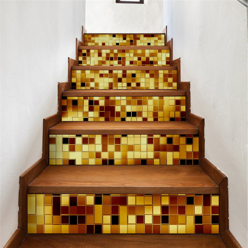 Lovely Pets Gold DIY Steps Sticker Removable Stair Sticker Home Decor  Ceramic Tiles Patterns Drop Shipping