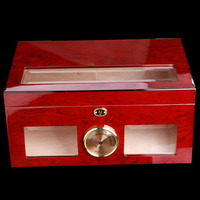 Luxury See through Glass Window High Glossy Wine Red Piano Paint Cigar Humidor Nice Storage Box with Lock Hygrometer