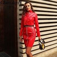 Glamaker Two Pieces PU Faux Leather Dress Women Yellow Slim Bodycon Dress Female Long Sleeve Jacket