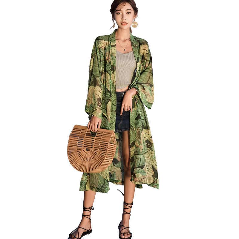 Pista di Modo di Estate Delle Donne Della Stampa Floreale Lungo Kimono Cardigan A Maniche Lunghe di Estate Camicetta Blusas Chiffon Della Boemia Vintage Kimono