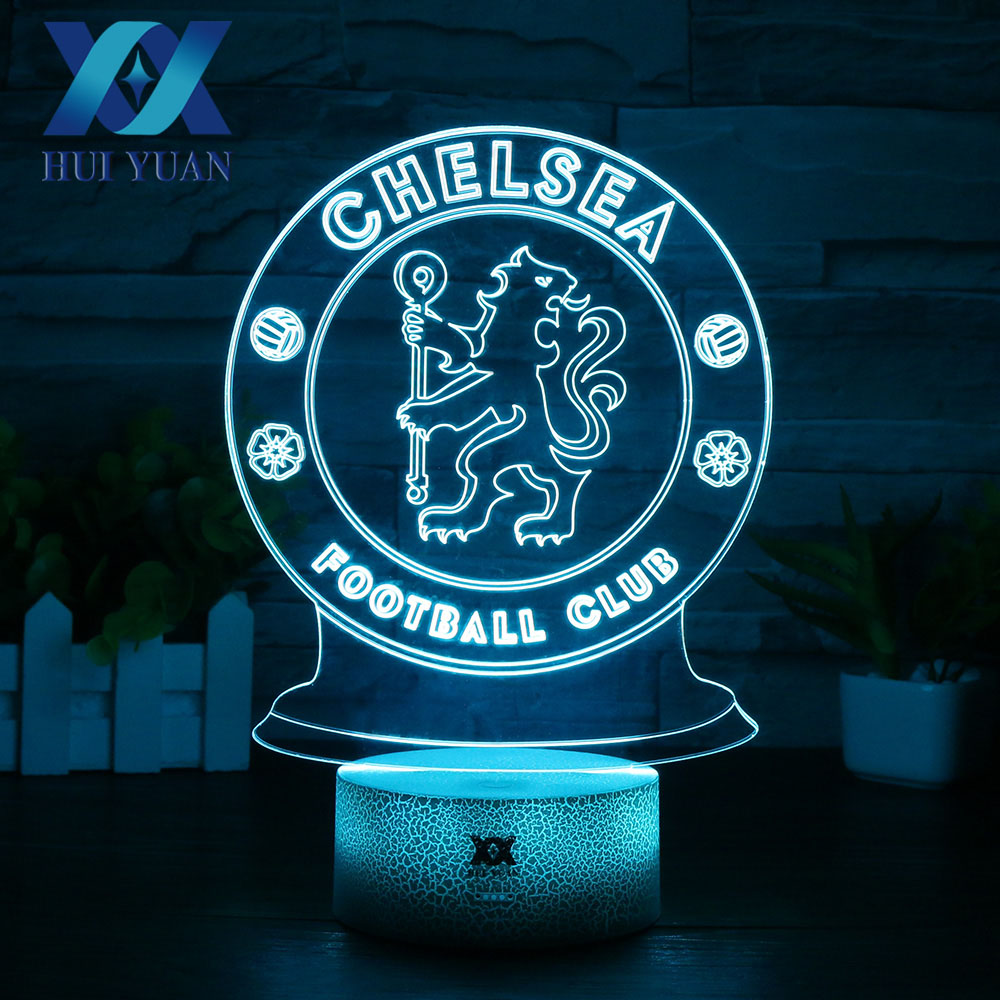 HUI YUAN LED Chelsea Football Club 3D Lamp USB 7 Color Cool Glowing Base Home Decoration Table Lamp Children Bedroom Night Light