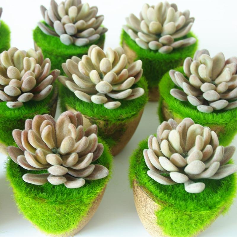 Indigo-1 Set Lotus Vetplant Bonsai Kunstmatige Plastic Bloem Kantoor Tafel Decoratie Groene Plant Achtergrond Gratis Verzending