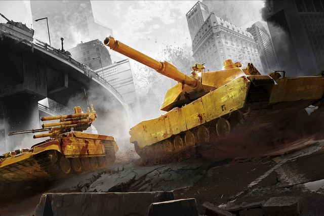 City Battle Tanks Fantasy Selective Color KB635 Living Room Home Wall Art Decor Wood Frame Fabric