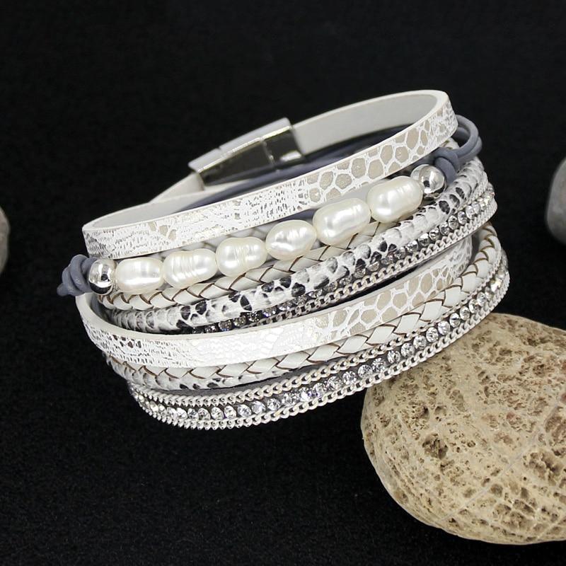 VONNOR Women Bracelet Multilayer Leather Rope Winding Bangle Bracelets Natural Pearl String Bracelet Famale Jewelry Dropshipping