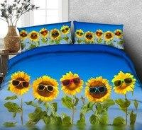 Sunflower Bedding set 3D Comforter bedding sets Cartoon Floral duvet cover bed sheet quilt doona Queen size Super King twin 5PCS