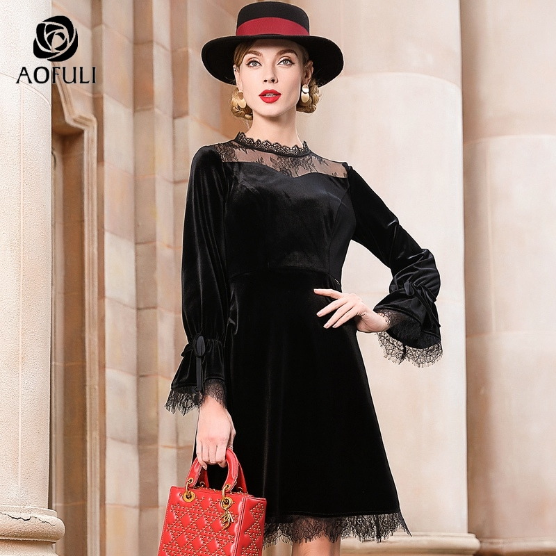 Gothic Style Black Velvet Dress Spring Sexy Lace Patchwork Knee length Dress Big Size Women Clothes