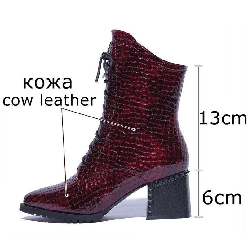 ALLBITEFO Size:34-42 Pu Leather Stone Texture High Heels Ankle Boots Women Thick Heek Girls Women Boots Winter Motorcycle Boots