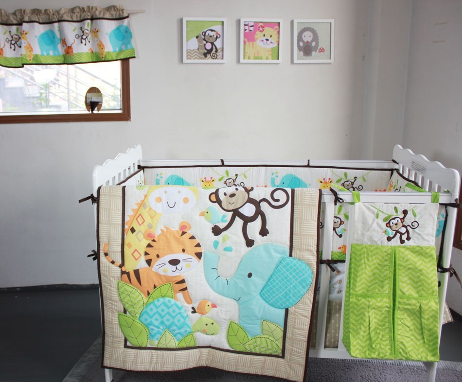 Baby Bedding Set Elephants Monkeys Tigers Crib Include Quilt Skirt Per Ed Urine Bag 8 Pieces