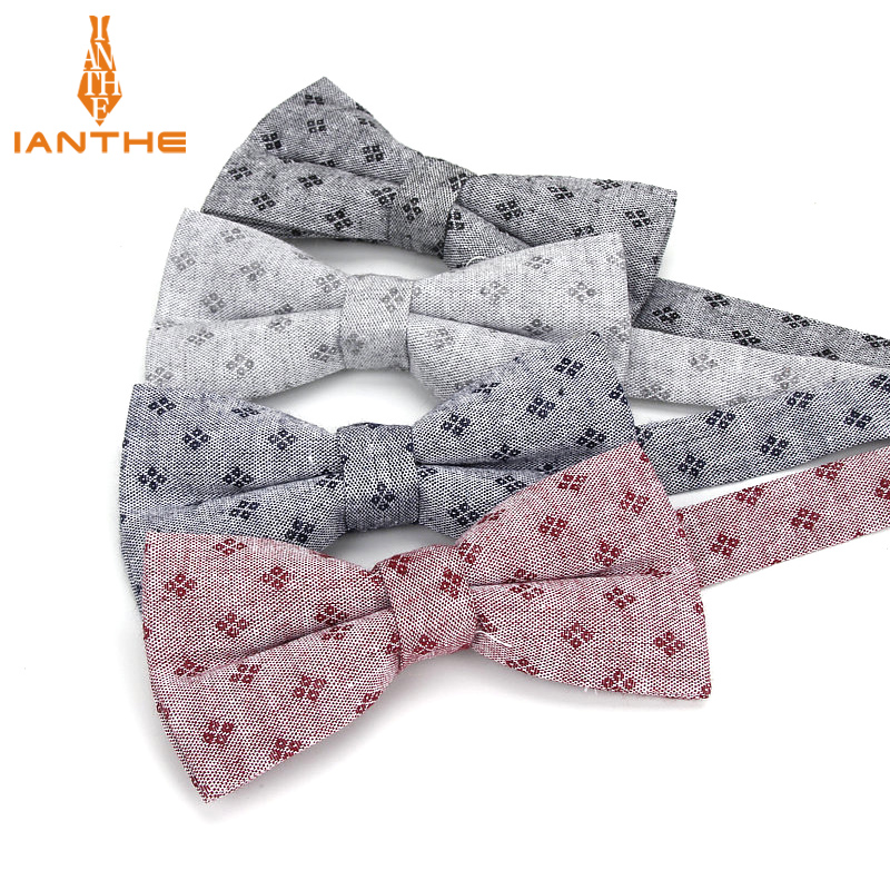 Brand New Men Fashion Bow Tie 100% Cotton Butterfly Cravat Red Geometric Vintage Neck Bowtie Tuxedo Bows Male Accessories Gift