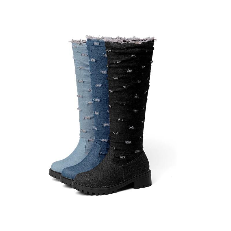Schwarzes Auf Knie Heels Campus Smeeroon Frau Med light Schuhe Kappe blau Blue Freizeit Halten Stiefel Warm Winter Mode Hohe Slip 2018 Runde EqSw8vqUx