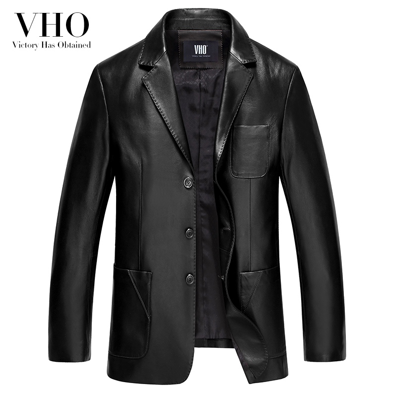 VHO 2017 new genuine leather suit men's casual formal regular genuine leather jacket clothing single breasted leather coats 1515
