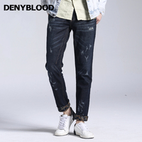 Denyblood Jeans Mens Distressed Jeans Ripped Hole Stretch Denim Fleece Warm Jeans 2017 Autum Winter Jeans