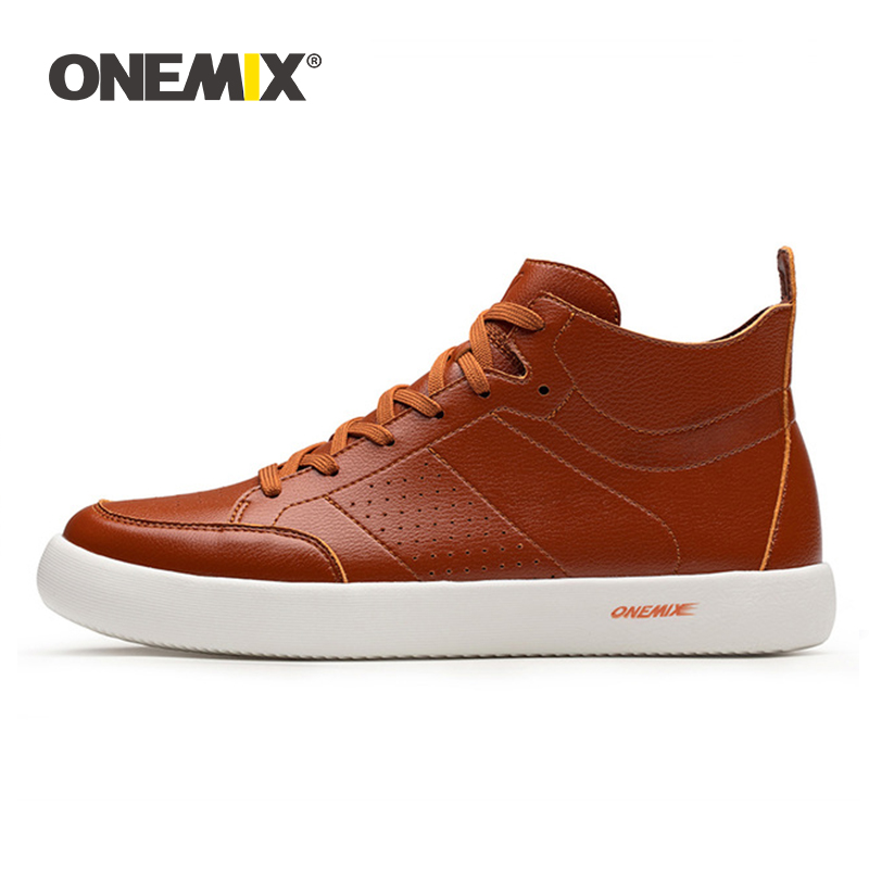 ONEMIX skateboarding shoes light cool sneakers soft micro fiber leather upper elastic outsole men shoes walking