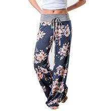 Pantalones de mujer holgados con estampado Floral con cordón 2018, pantalones informales de pierna ancha, pantalones largos de verano para mujer, pantalones de chándal de talla grande a la moda