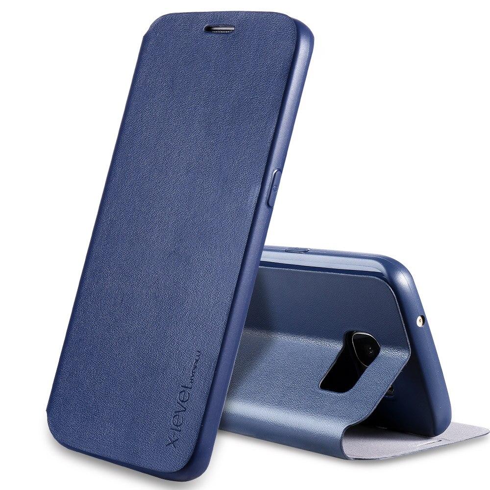 Цена за X-Уровень Бизнес Стиль ИСКУССТВЕННАЯ Кожа Флип Телефон Случае для Samsung Galaxy S7 Роскошные Стенд Случае Покрытия