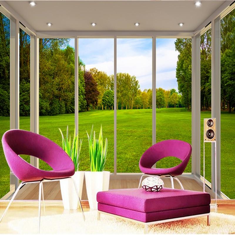 Custom Mural Wallpaper Modern Window Views Park Lawn Forest 3D Wall Paper Living Room Study Restaurant Home Decor Frescoes