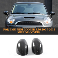 Carbon Fiber Add On Rearview Mirror Caps Covers Trim For BMW Mini Cooper R56 Only 2007