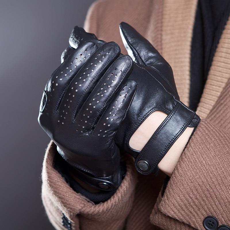 Spring Summer Men's Genuine Leather Gloves 2019 New Touch Screen Gloves Fashion Breathable Black Gloves Sheepskin Mittens JM14
