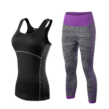 YD New Arrival Women Athletic Gym Yoga Clothes Running Fitness Stripe Sleeveless Sport Vest + Pants Sets 20015081
