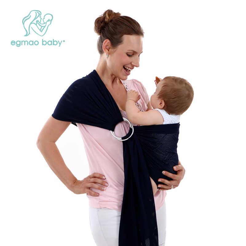 2 alumínio Anel Ajustável New Portador Da Criança Do Bebê Respirável Confortável de Algodão Da Listra Do Bebê Embrulhe Transportadora Sling Canguru