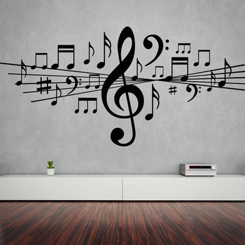 Musical Notes Removable Wall Stickers for Living Room Home Decor Vinyl Decals Studio Bedroom Dance Art Gift Poster K518 1
