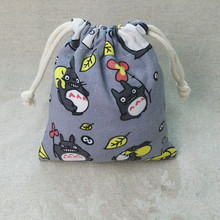 IVYYE 14 or 17CM Grey Totoro Cartoon Drawstring Bags Canvas Storage Handbags Makeup Bag Coin Bundle Pocket Purse NEW
