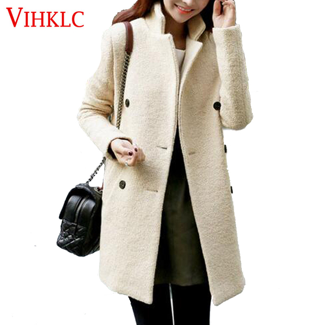 a4d13b7a9c4 Winter Wool Coat Women 2017 New Fashion Korean Beige Double-Breasted Coat  Slim Thick Long