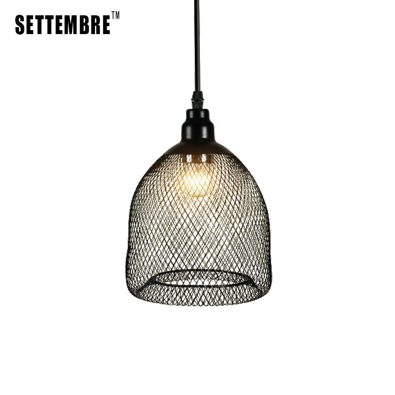 Black Iron Mesh Industrial Vintage Pendant Light Bar Kitchen LED Ceiling Lamp Fixture 1 Free Edison Bulb