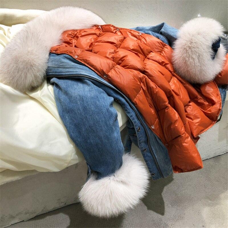 Vestes Réel Renard En Femelle Amovible Blue Doublure Outwear Canard Fourrure Denim Épais Duvet Chaud Long Femmes Et Manteaux Blanc De Parker Manteau fwn5Cq