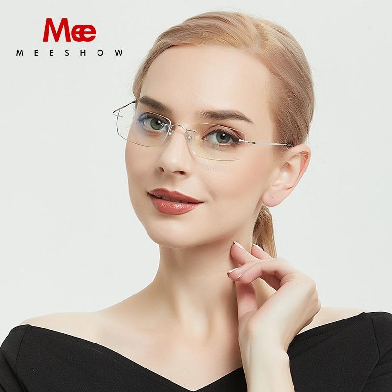 db698f9684 Meeshow Titanium glasses frame casual Rimless 100% B titanium glasses men women  eyeglasses screwless Prescription