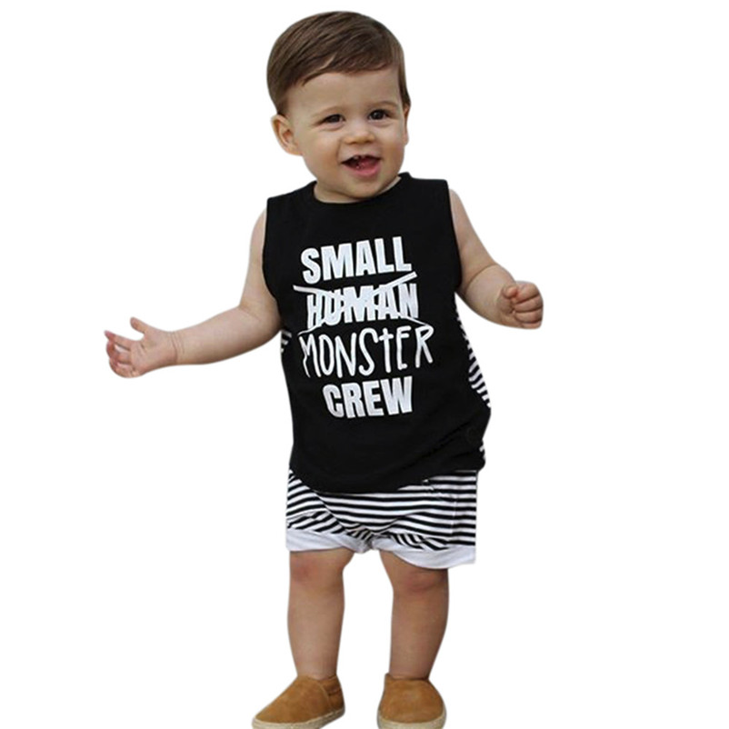 2018 Summer New Boys Clothes 2Pcs Toddler Kids Baby Boys Girls Letter Tops Vest+Shorts Outfits Clothes Set Children clothes P5 ...