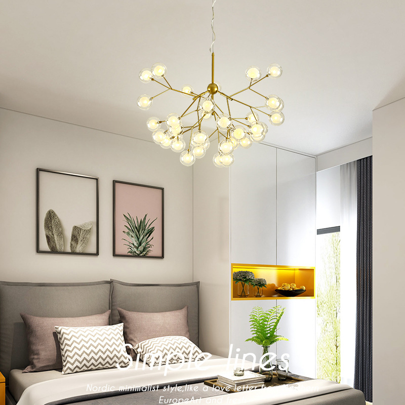 Nordic LED chandelier Glass ball luminaires home lighting bedroom fixtures living room hanging lights restaurant suspended lamps